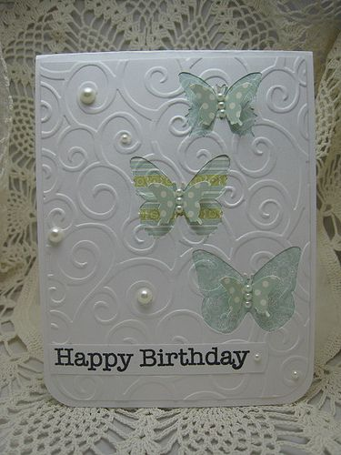 The challenge was to find something on Pinterest for an inspiration.  I was inspired by a card made by Debby Hughes (limedoodle.blogspot.com) - she had die cut clouds and put colored paper behind on a white background.  PTI, MS & EK punches/dies for butterflies, PTI papers,HA sentiment, CB embossing folder.  I glued the papers behind the punched out butterflies and then embossed the whole front.