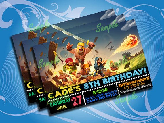 New Clash Of Clans Birthday Invitation Party Digital by notoprojo