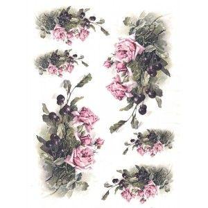 Papír rýžový A4 Růžové růže a višně