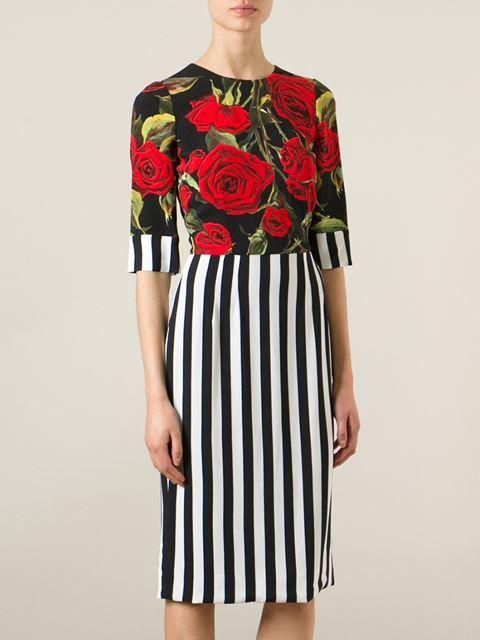 Dolce & Gabbana Vestido Con Estampado De Rosas Y Rayas - Stefania Mode…