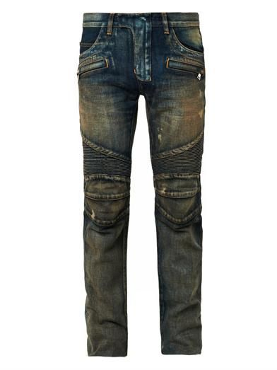 Balmain Distressed denim biker jeans