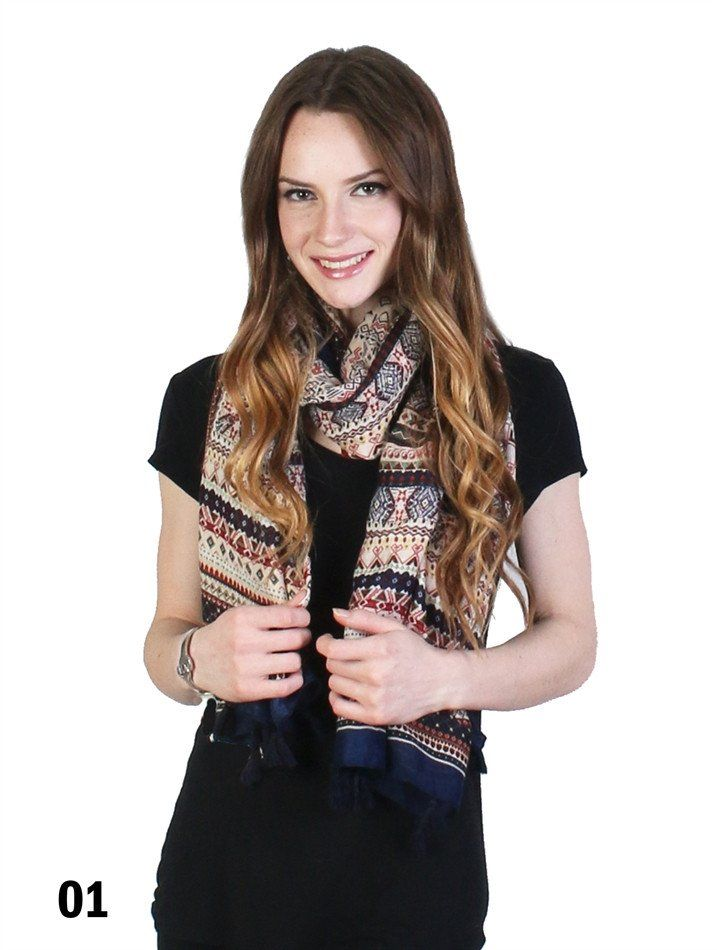 Navy Blue Tribal Print Fashion Scarf with Fringe Detailed Ends