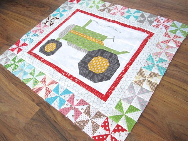 The Quilty Barn Along - Fast and Easy Pinwheels Tutorial for the Vintagey Farm Girl Tractor Block !!!... - Bee In My Bonnet