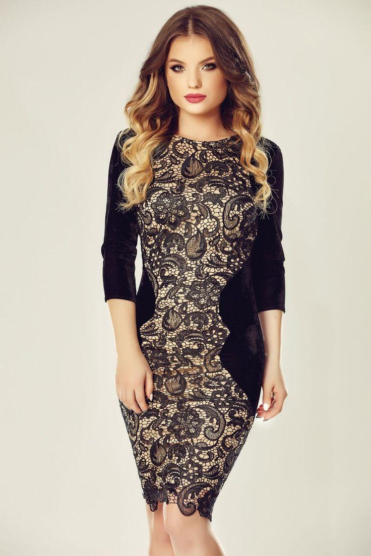 Rochia neagra eleganta Miriam adauga un plus de feminitate garderobei tale de ocazie. Confectionata din catifea si dantela, rochia neagra...