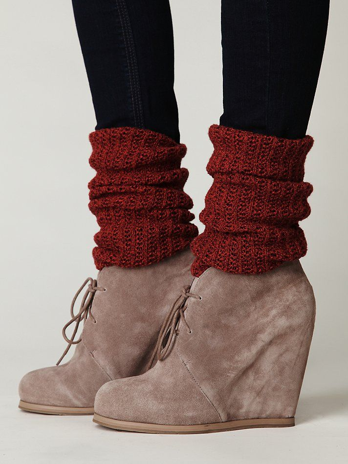 Wedges and slouchy socks.