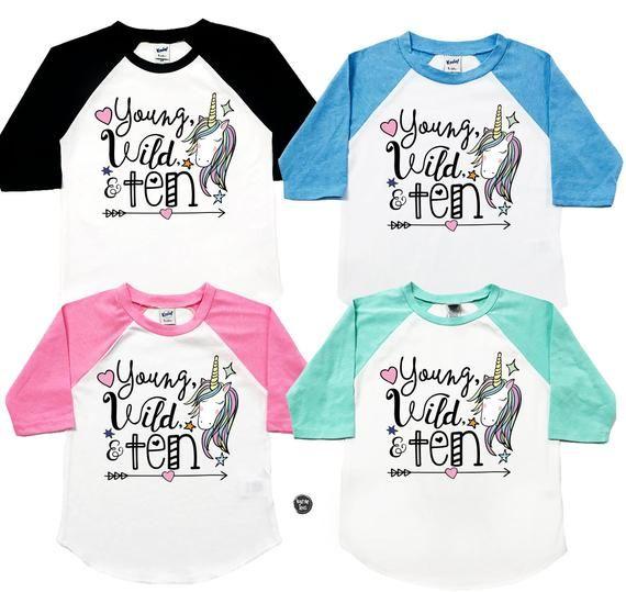 66669bd44bda Young Wild and Ten Unicorn Shirt - Unicorn Birthday Shirts - Girls'  Birthday Shirts - Ten Year Old - | Products in 2019 | Birthday shirts,  Unicorn shirt, ...