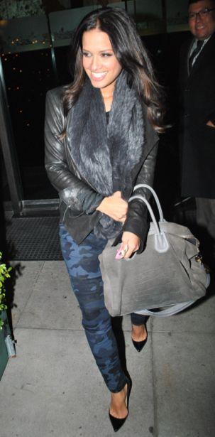 Go Blue: Rocsi Diaz's in Zara Blue Camouflage Pants | Talking Pretty