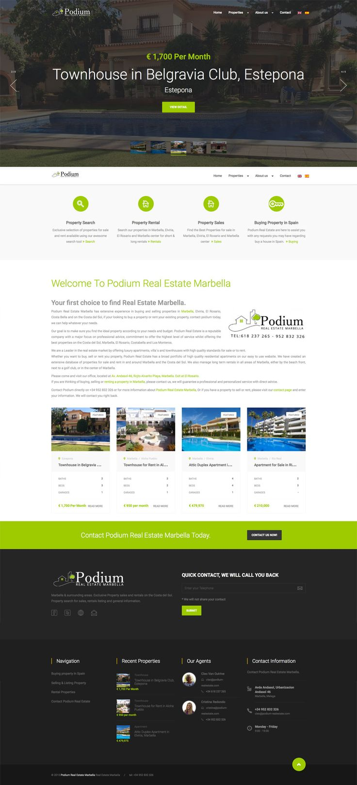 marbella Real Estate website design, marbella web designers diseñoideas