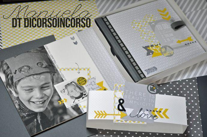 Grigio e Giallo per un minialbum sprint = un superbe mini en gris et jaune combiné avec du noir et blanc !! : http://www.dicorsoincorso.it/2014/07/03/grigio-e-giallo-per-un-minialbum-sprint/