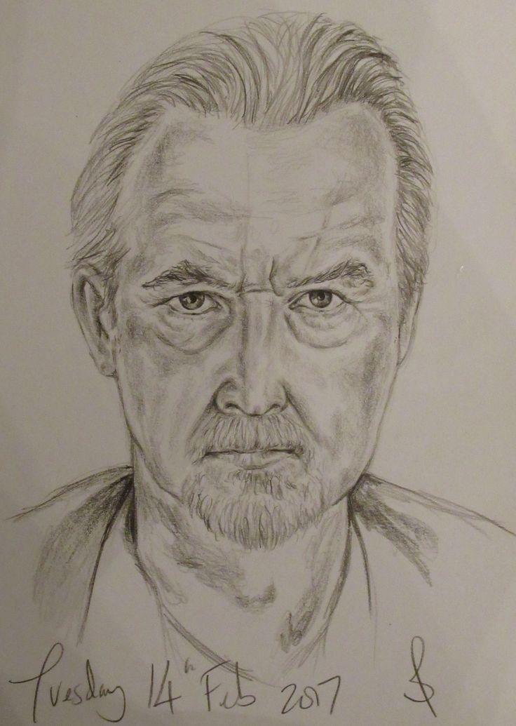 Pencil portrait of actor Trevor Eve.
