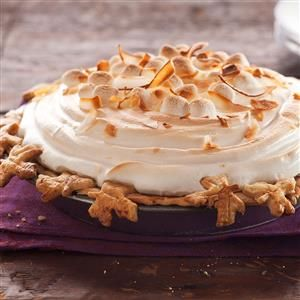 Sweet Potato Coconut Pie with Marshmallow Meringue Recipe -My grandmother's sweet potato casserole contains coconut and marshmallows. I thought it would be even better as a pie. —Simone Bazos, Baltimore, Maryland
