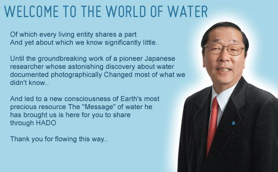 "Masaru Emoto  ""I dont know what the science says, but it's very important how you talk to water"""