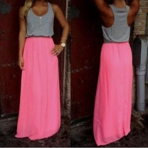 Stylish U Neck Sleeveless Button Design Color Block Women's Dress Summer Dresses   RoseGal.com Mobile