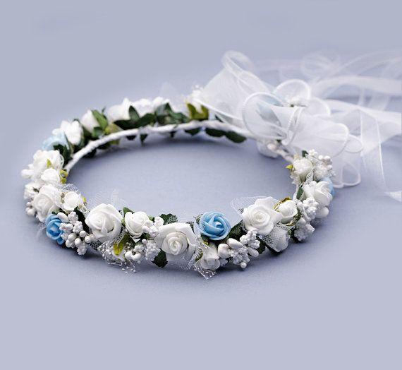 Bridal flower crown Something blue Bridal by FloralHeadpiece
