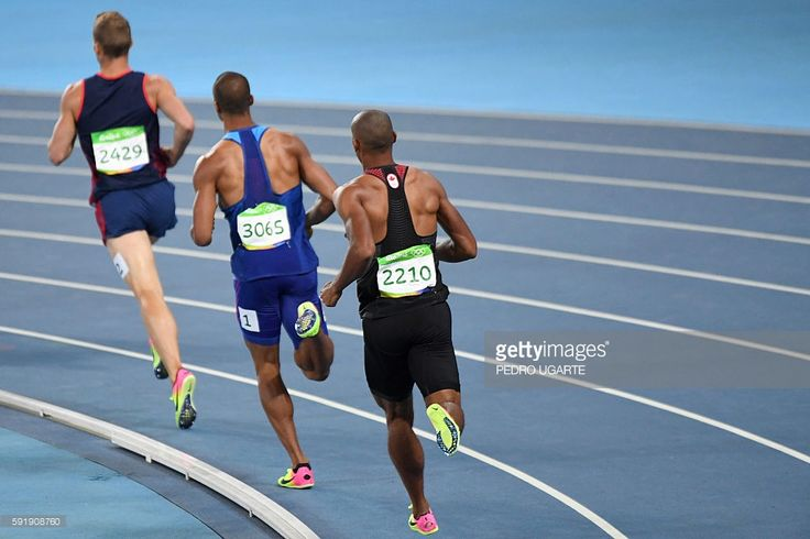France's Kevin Mayer, USA's Ashton Eaton and Canada's Damian Warner compete in the Men's Decathlon 1500m during the athletics event at the Rio 2016 Olympic Games at the Olympic Stadium in Rio de Janeiro on August 18, 2016. / AFP / PEDRO