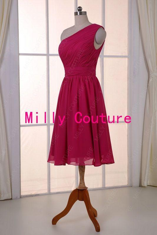 Hot Pink Fuschia kurze Brautjungfer Kleid Hochzeit von MillyCouture