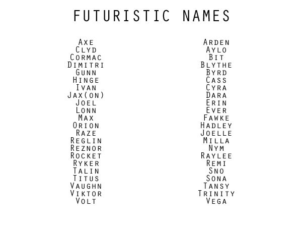 "Some of these names are ancient, so it seems weird to me that they're titled ""futuristic,"" but they're all good names."