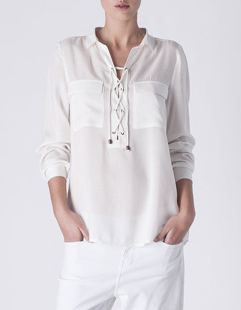 Camisa fluida cordones | NUEVO! | SHOP ONLINE SUITEBLANCO.COM