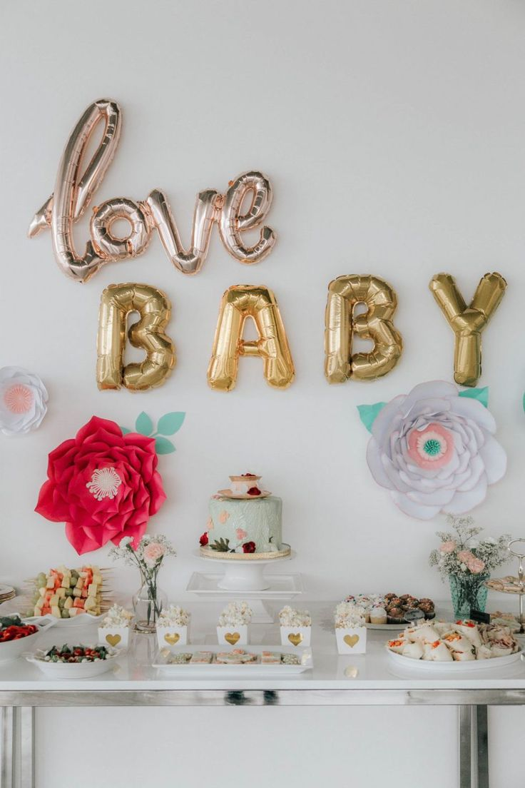 Love Baby | Mint and Peach Floral Tea Party Themed Baby Shower