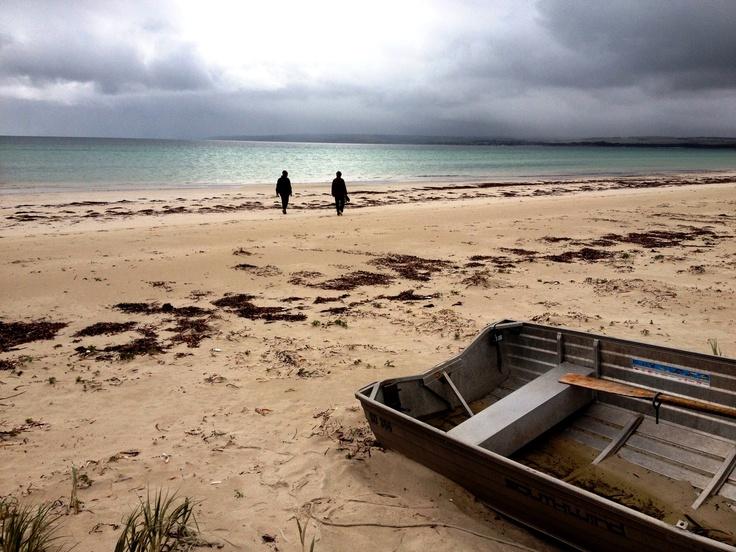 A morning walk on Island Beach, Kangaroo Island., South Australia.