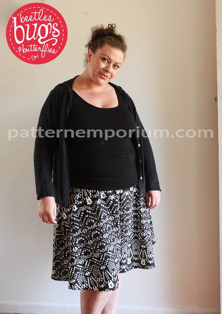 PDF Pattern: Ladies Swing Shorts sewing pattern. Choose from tailored or easy fit options. Shorts that look like a skater skirt.