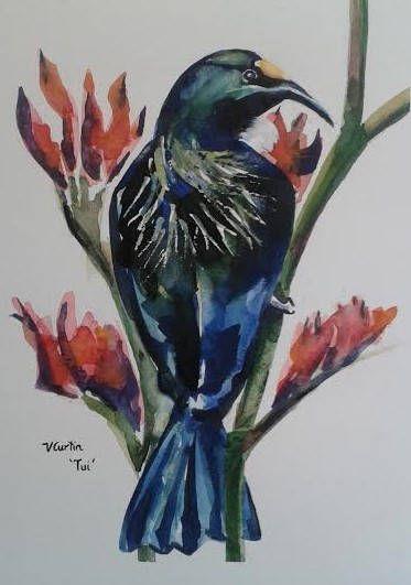 Tui  Native New Zealand Bird  original watercolour painting
