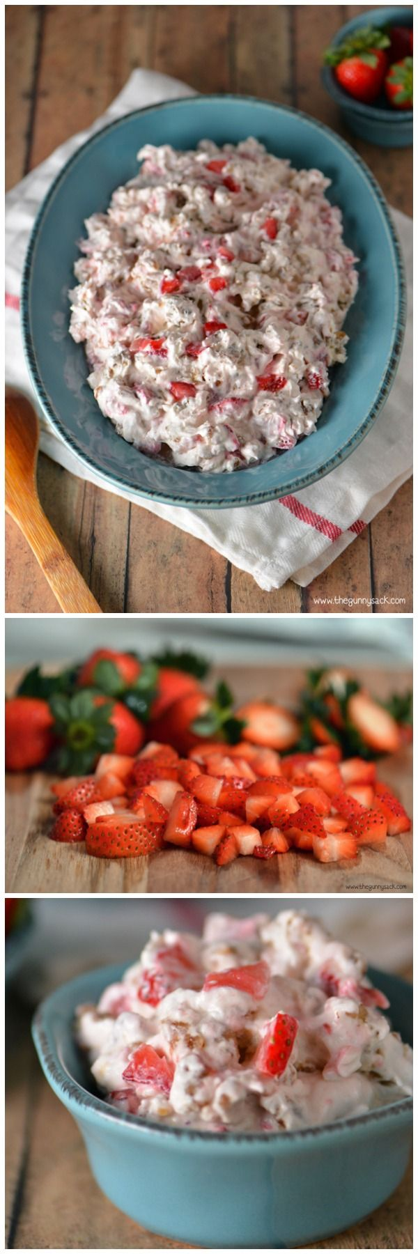 Strawberry Pecan Pretzel Salad is one of my family's favorite holiday recipes. This recipe is creamy and crunchy, salty and sweet. #client