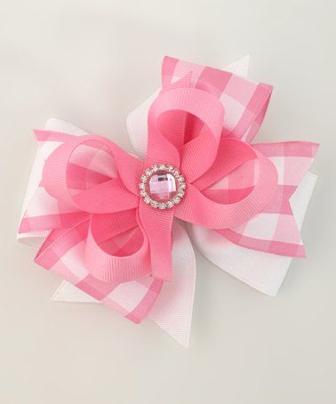 This Pink Plaid Hair Bow is perfect! #zulilyfinds