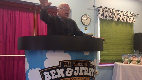 Bernie Sanders standing in a huge tub of Ben & Jerry's was just asking for memes