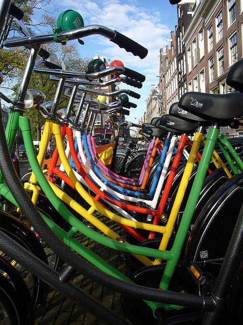 #Bikes in #Holland - all colours of the rainbow.