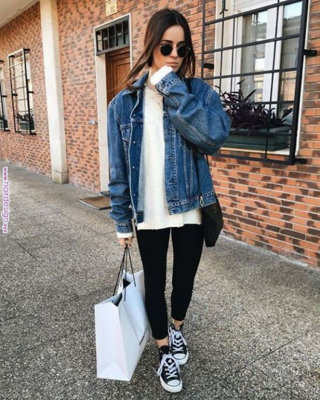 79285ca41e 15 Jean Jacket With Leggings Outfits That We Can Not Get Enough Of If there  is any outfit that we love it s a good jean jacket with leggin…