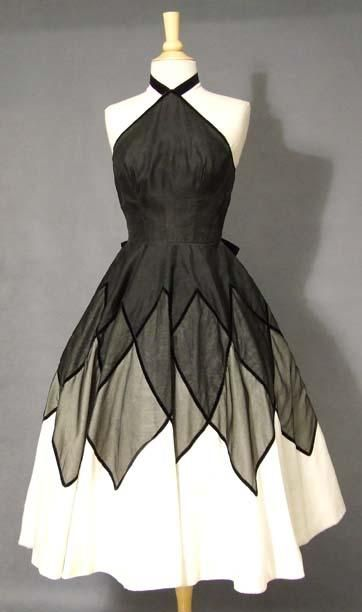 Black and White with layered diamond skirt  http://eclecticfusion.hubpages.com/hub/Vintage-Dresses-From-The-40s-50s