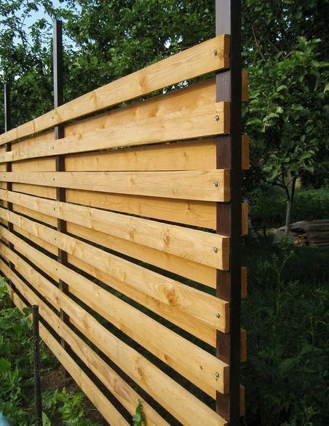 25 + › Projekte für draußen – Wie man mit eigenen Händen einen waagerechten Zaun baut #buil …