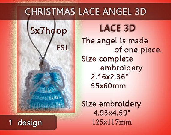 Christmas Angel No.118 mini lace 3D FSL by EmbroideryRady