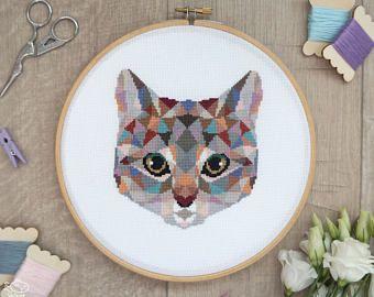 Cat Cross Stitch Pattern, Geometric Animals Cross Stitch, Cute Cat Embroidery, Cat Lady Gift, Kitten Wall Art, PDF Format, Instant Download