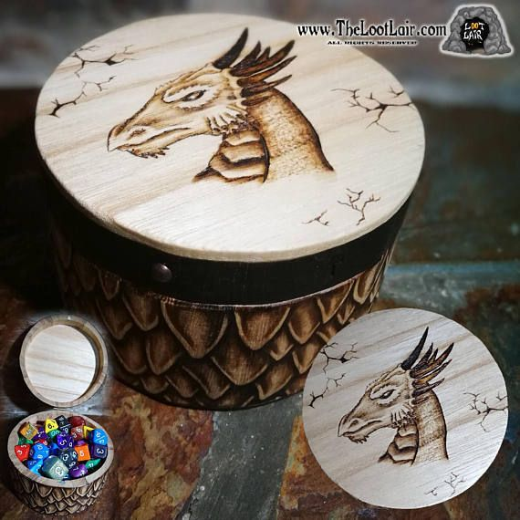 Dragon Rounded Wooden Hinged Dice / Trinket / memories / keepsake Box Dnd D&D GoT Toys & Games Games & Puzzles Role Playing Games dice box miniatures monster trinket dungeons and dragons gaming rpg tabletop table top fantasy dragonkin Game of thrones magic