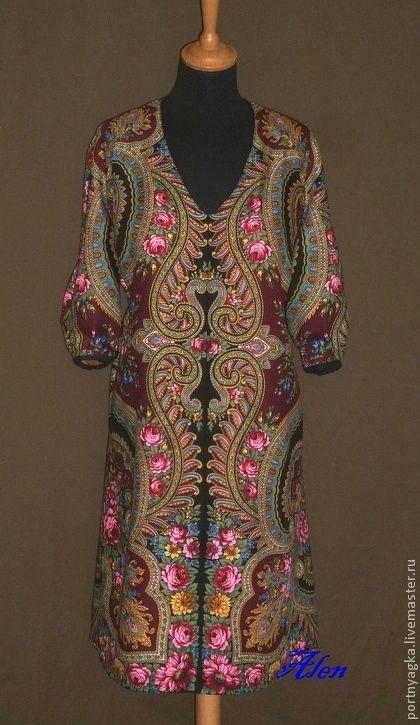 Платье-туника Теплый вечер из ПП платка - орнамент,платье из платка