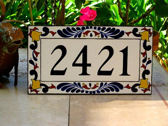 Blue Rust Yellow Tile House Number, House Number Plaque/ Tile Address Plaque/House Numbers/Porcelain/House Sign