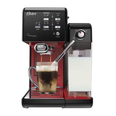 Cafetera automática PrimaLatte™ Oster® con 19 bares, en color negro con interior rojo en oster.cl
