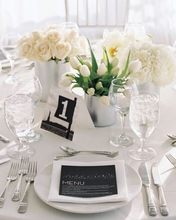 The Reception: White Flowers, White Tables, Tables Sets, White Wedding, Flowers Centerpieces, Escort Cards, Black And White, Black White, Tables Numbers