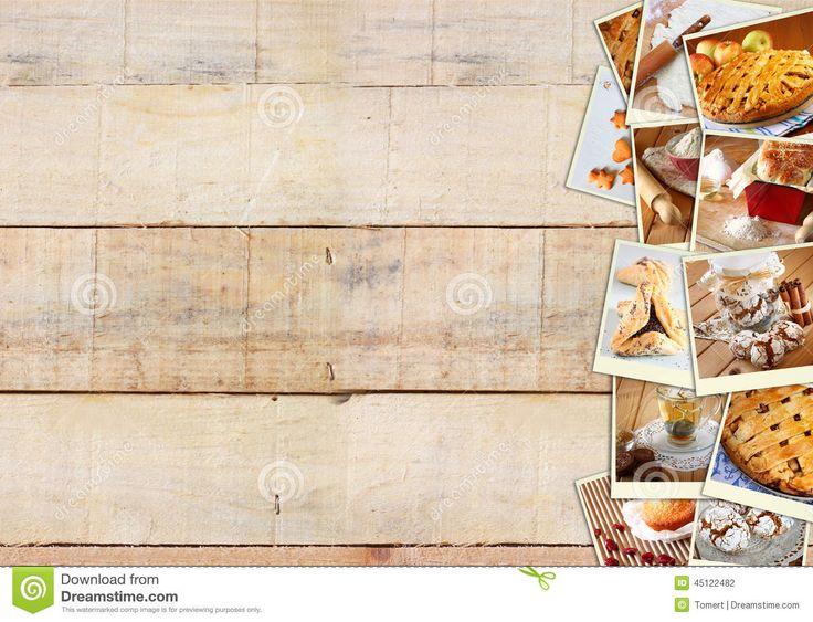foto's van appeltaarten | ... met koekjes, vers brood, appeltaart en muffins over houten achtergrond