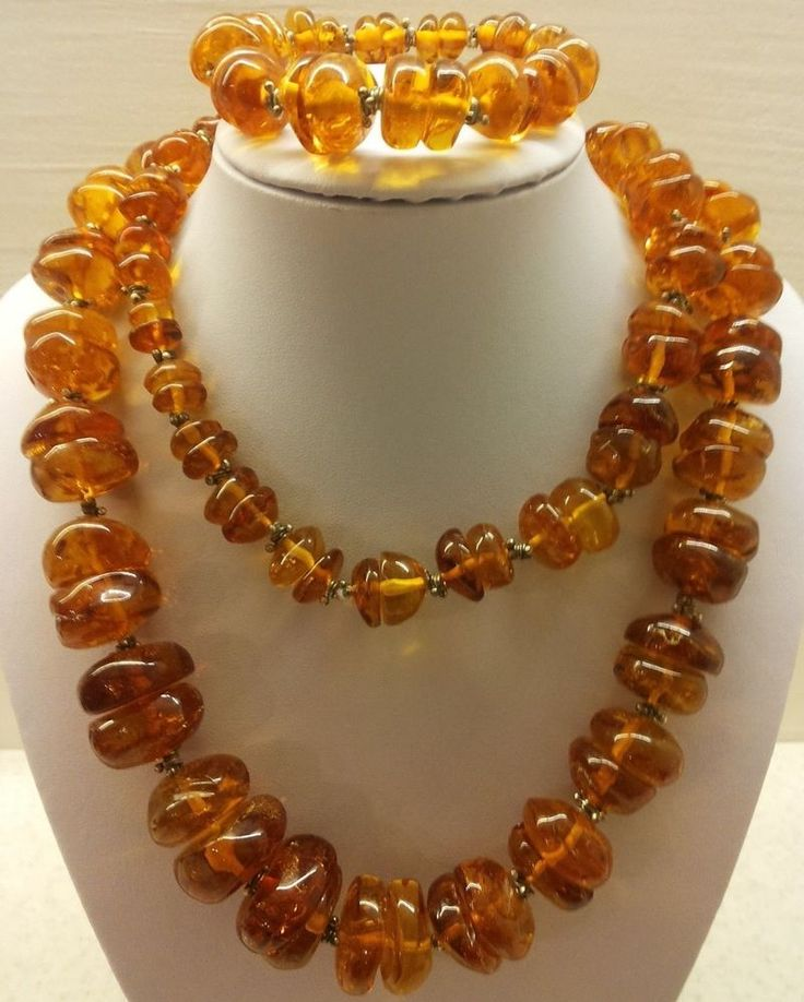 226.10gr VINTAGE HUGE  Real  Natural Genuine Baltic Amber Necklace + Bracelet  #Handmade #Necklace
