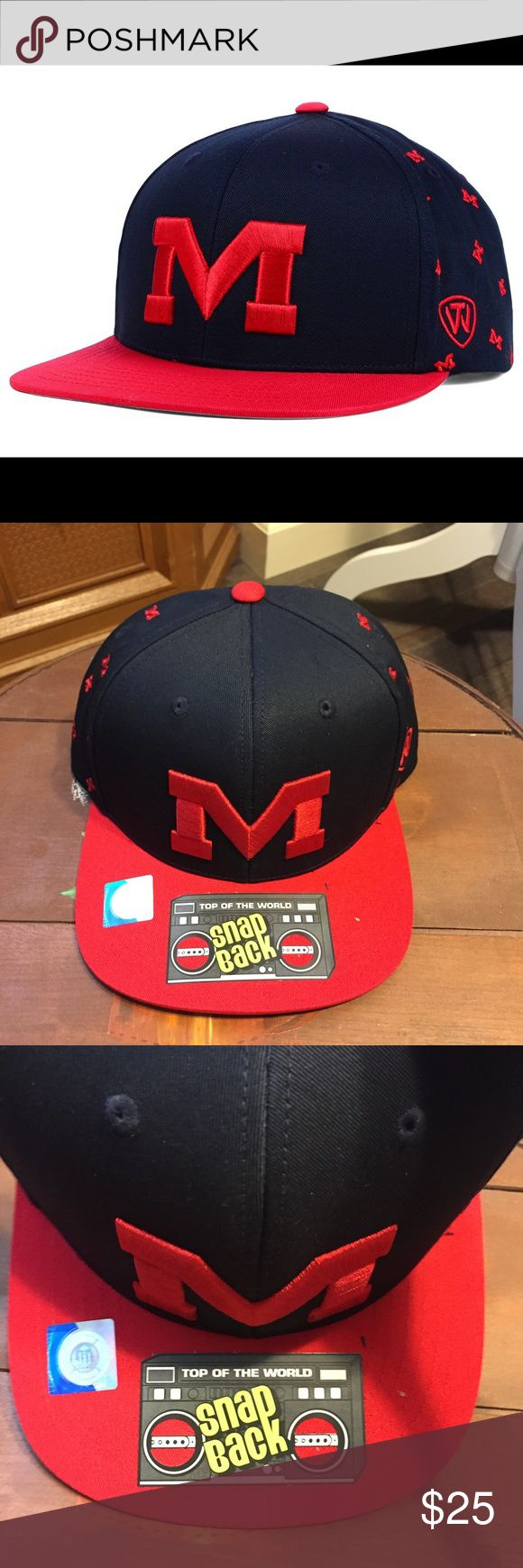 🆕 Ole Miss SnapBack All Flocking NCAA Hat NWT Brand new with tags! Mississippi rebels one size adjustable Top of the World Accessories Hats