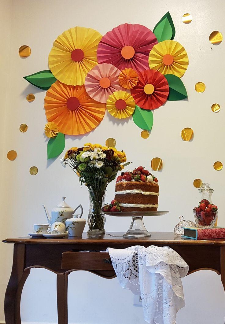 Chá de cozinha da Pri  Flores de papel Naked cake DIY