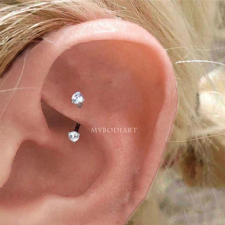 Einfache Rook Ohr Piercing Ideen minimalistischen Schmuck Ohrring    – Tattoos