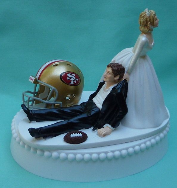 Wedding Cake Topper San Francisco 49ers SF Football Themed w/ Garter, Display Box. $59.99, via Etsy.
