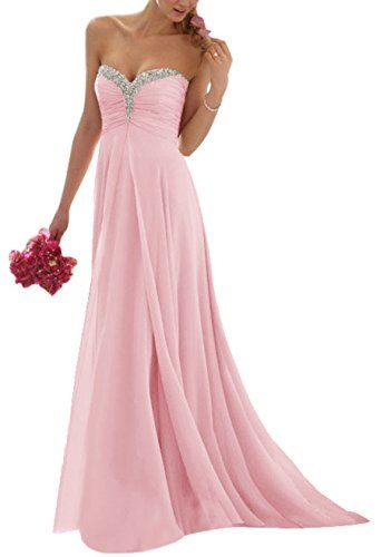 Vougemarket® A-Linie Lang Chiffon Perlen Herz-Ausschnitt Abendkleid Ballkleid Brautjungfernkleid Rosa 36