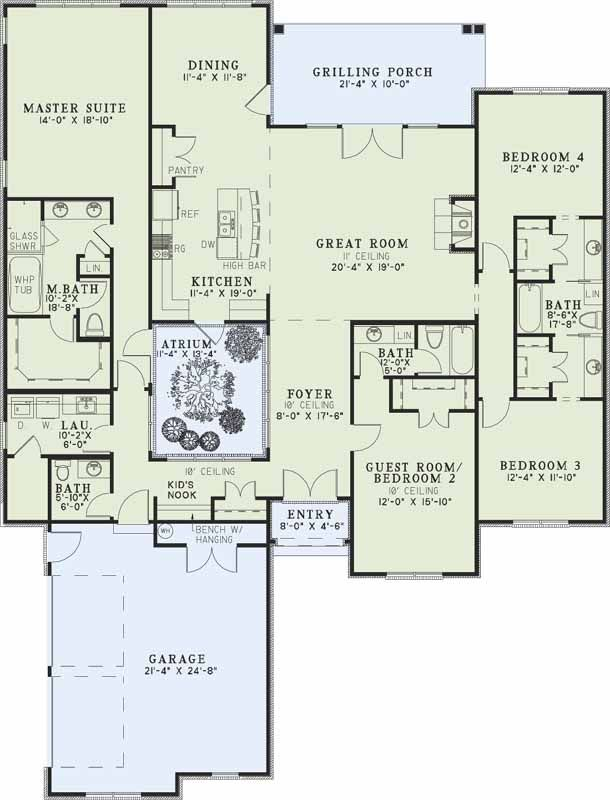 Traditional style house plans 2611 square foot home 1 for House plans with guest suite