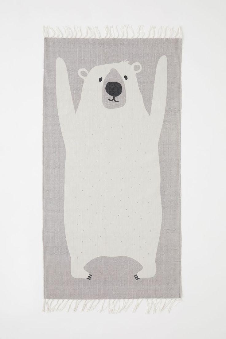 AFFILIATELINK   Baumwollteppich mit Motivdruck   Hellgrau / Eisbär   Skandinavier …  – Kinderzimmer   DIY, Deko & Einrichtung