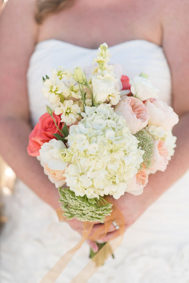 Ivory, Pink, and Coral Bridal Floral Wedding Bouquet